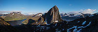 Panoramic view of Segla mountain peak, Fjordgard, Senja, Troms, Norway