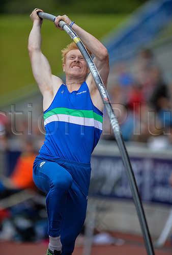 26.06.2016. Alexander Stadium, Birmingham, England. British Athletics Championships. Jay Thoirs on his way to 3rd in the Pole Vault.