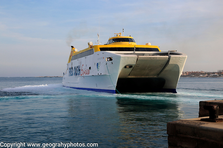 Fred Olsen Express ferry ship arriving at quayside, Corralejo, Fuerteventura, Canary Islands, Spain
