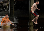 Tacoma residents Ryan Privett (L) hits the water before Christopher Seaman as they leap into the Burley Lagoon during the 25th annual Polar Bear jump in Olalla, Washington on January 1, 2009. Jim Bryant Photo. ©2010. ALL RIGHTS RESERVED.