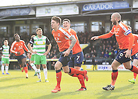 Glen Rea of Luton Town celebrates his goal during the Sky Bet League 2 match between Yeovil Town and Luton Town at Huish Park, Yeovil, England on 4 March 2017. Photo by Liam Smith / PRiME Media Images.