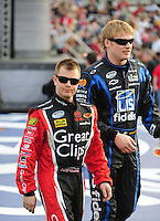 Feb 21, 2009; Fontana, CA, USA; NASCAR Nationwide Series driver Jason Leffler (left) with Steve Wallace prior to the Stater Brothers 300 at Auto Club Speedway. Mandatory Credit: Mark J. Rebilas-