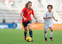 ORLANDO, FL - MARCH 05: Alexia Putellas #11 of Spain dribbles during a game between Spain and Japan at Exploria Stadium on March 05, 2020 in Orlando, Florida.