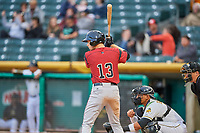 Austin Slater (13) of the Sacramento River Cats bats against the Salt Lake Bees at Smith's Ballpark on April 19, 2018 in Salt Lake City, Utah. Salt Lake defeated Sacramento 10-7. (Stephen Smith/Four Seam Images)