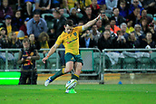 9th September 2017, nib Stadium, Perth, Australia; Supersport Rugby Championship, Australia versus South Africa; Bernard Foley of the Australian Wallabies kicks for goal during the second half