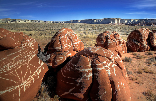 Unusual sandstone formations are plentiful at Blue Canyon on the Navajo Indian Reservation in Northern Arizona