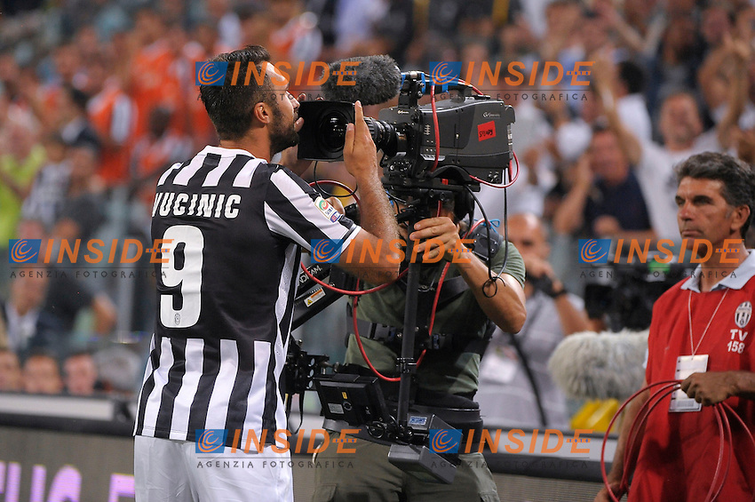 Esultanza Goal Celebration Mirko Vucinic  Juventus<br /> Torino 31-08-2013 Juventus Stadium<br /> Football Calcio 2013/2014 Serie A<br /> Juventus Vs Lazio<br /> Foto Federico Tardito Insidefoto