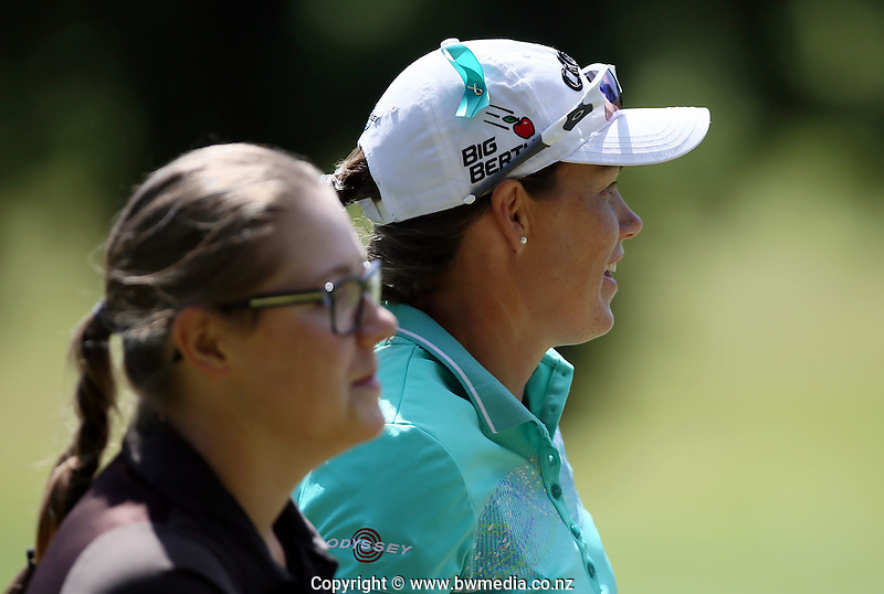 Stacey Keating of Australia with Caddy Ella Grimood of New Zealand during the Anita Boon Pro-am, North Shore Golf Club, Auckland, New Zealand. Friday 13 November 2015. Photo: Simon Watts/www.bwmedia.co.nz <br /> All images &copy; BWMedia.co.nz