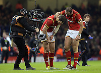 Try co-scorers for Wales George North and Jamie Roberts of Wales after the RBS 6 Nations Championship rugby game between Wales and Scotland at the Principality Stadium, Cardiff, Wales, UK Saturday 13 February 2016