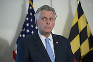 Arlington, VA - February 26, 2014: Virginia Governor Terry McAuliffe listens during a news conference following a regional governor's meeting with Maryland Governor Martin O'Malley and District of Columbia Mayor Vincent Gray. (Photo by Don Baxter/Media Images International)