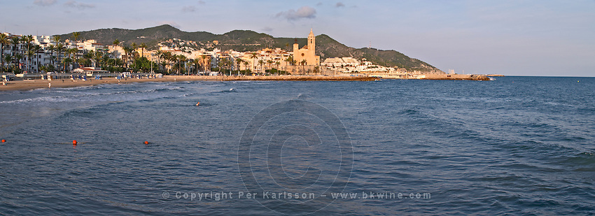 panorama over beach and town. Sitges, Catalonia, Spain