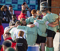 Mortlake/Chiswick, GREATER LONDON. United Kingdom. 2017 Men's Boat Race CUBC form a huddle after losing the race, The Championship Course, Putney to Mortlake on the River Thames.<br /> <br /> <br /> Sunday  02/04/2017<br /> <br /> [Mandatory Credit; Peter SPURRIER/Intersport Images]