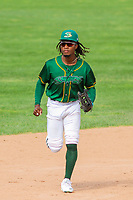 Beloit Snappers outfielder JaVon Shelby (5) jog in from the outfield during a Midwest League game against the Quad Cities River Bandits on June 18, 2017 at Pohlman Field in Beloit, Wisconsin.  Quad Cities defeated Beloit 5-3. (Brad Krause/Four Seam Images)