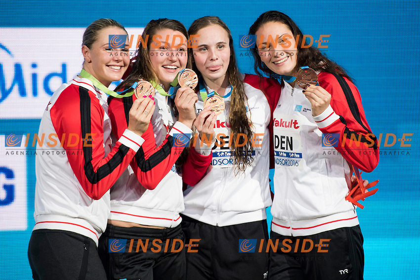 Denmark DEN Bronze Medal<br /> Women's 4x50m Medley Relay <br /> NIELSEN Mie Oe SCHRODER Matilde BECKMANN Emilie OTTESEN Jeanette<br /> 13th Fina World Swimming Championships 25m <br /> Windsor  Dec. 7th, 2016 - Day02 Finals<br /> WFCU Centre - Windsor Ontario Canada CAN <br /> 20161207 WFCU Centre - Windsor Ontario Canada CAN <br /> Photo &copy; Giorgio Scala/Deepbluemedia/Insidefoto
