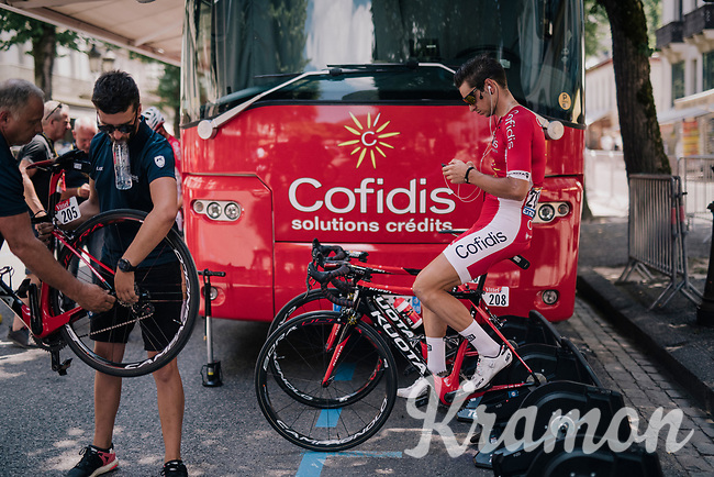 Anthony Turgis (FRA/Cofidis) warming up at the race start in Luchon<br /> <br /> Stage 17: Bagnères-de-Luchon > Saint-Lary-Soulan (65km)<br /> <br /> 105th Tour de France 2018<br /> ©kramon