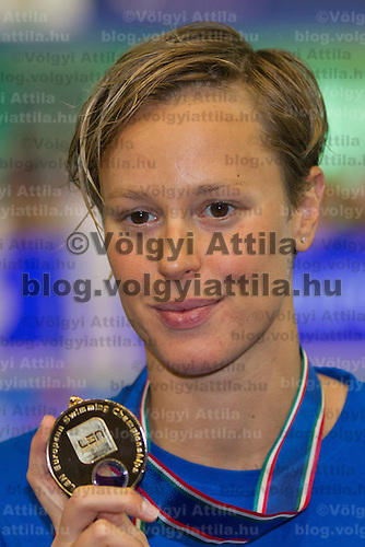 Federica Pellegrini of Italy celebrates her victory in the Women's 200m Freestyle final of the 31th European Swimming Championships in Debrecen, Hungary on May 26, 2012. ATTILA VOLGYI