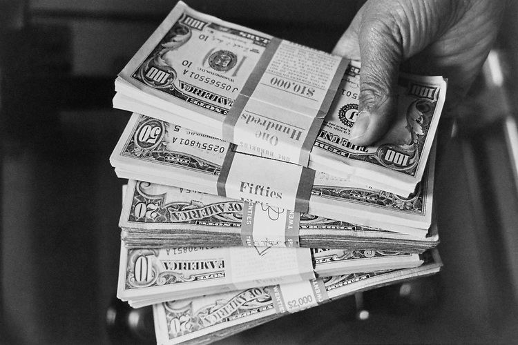 Close-up of $20000 cash in December 1992. (Photo by Maureen Keating/CQ Roll Call via Getty Images)