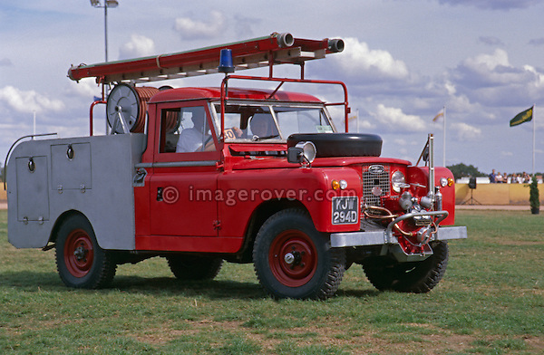 Land Rover Series 2a LWB fire engine on parade at a Land Rover show. NO RELEASES AVAILABLE. Automotive trademarks are the property of the trademark holder, authorization may be needed for some uses.