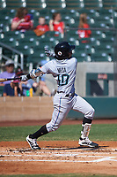 Salt River Rafters Victor Victor Mesa (10), of the Miami Marlins organization, at bat during the Arizona Fall League Championship Game against the Surprise Saguaros on October 26, 2019 at Salt River Fields at Talking Stick in Scottsdale, Arizona. The Rafters defeated the Saguaros 5-1. (Zachary Lucy/Four Seam Images)