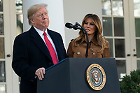 """United States President Donald J. Trump makes remarks as he and first lady Melania Trump present """"Butter"""" the National Thanksgiving Turkey in the Rose Garden of the White House in Washington, DC on Tuesday, November 26, 2019. <br /> Credit: Chris Kleponis / Pool via CNP/AdMedia"""