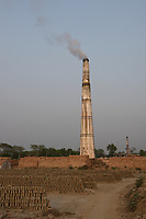 Bangladesh, Jhenaidah. Chimney at brick factory.