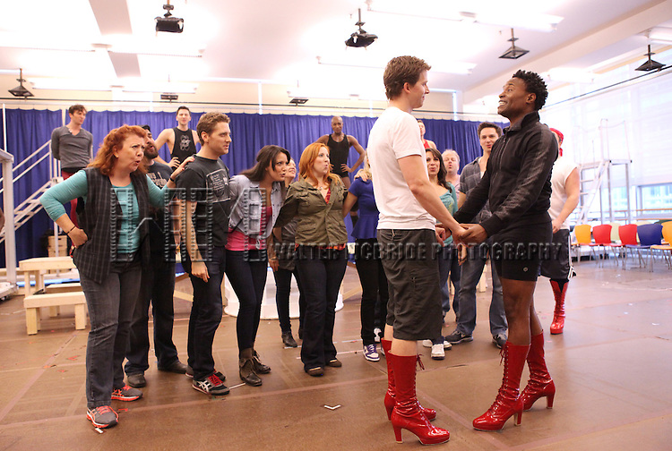 Stark Sands & Billy Porter & Company performing in the Sneek Peek Press Preview of the New Broadway Musical 'Kinky Boots' at the New 42nd Street Studios in New York City on September 14, 2012.