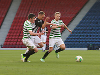 Michael Miller and Jamie Lindsay sandwich Blair Henderson in the Dunfermline Athletic v Celtic Scottish Football Association Youth Cup Final match played at Hampden Park, Glasgow on 1.5.13. ..