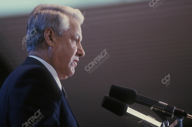 Boris Yeltsin, President of the Russian Federation, on an official visit to Germany. Koln, Germany, November 1991.
