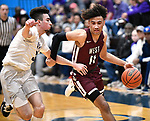Belleville West guard Greg Wells (right) dribbles past Collinsville forward Lorent Dzeladini. Belleville West played Collinsville in the Class 4A Belleville East regional basketball championship game at Belleville East High School in Belleville, Illinois on Friday March 6, 2020. <br /> Tim Vizer/Special to STLhighschoolsports.com