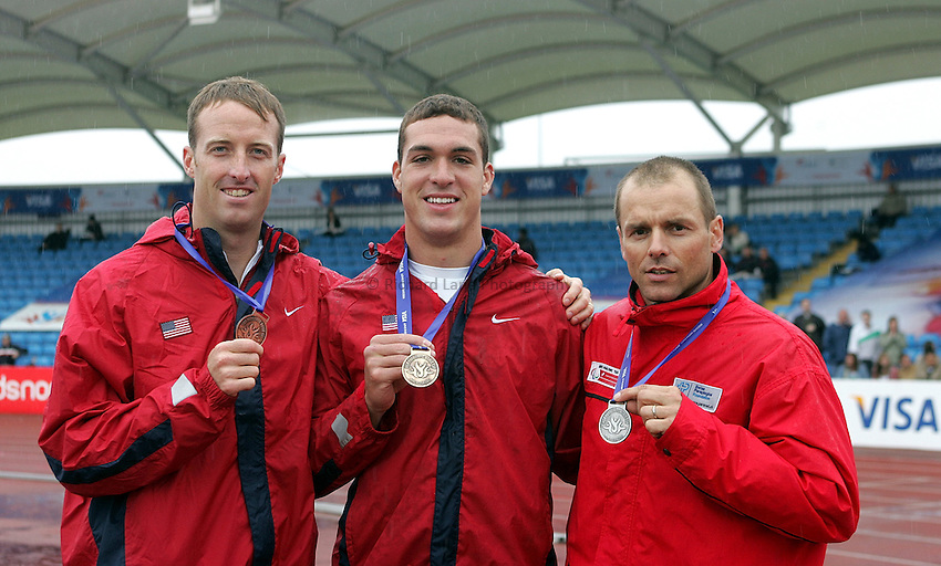 Photo: Paul Thomas..VISA Paralympic World Cup 2007. Athletics. 13/05/2007. .(lt to rt) Casey Tibbs of USA, Jeremy Campbell of USA and Urs Kolly of Switzerland with their medals from the men's F44 long jump.