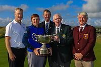 Jim McGovern (President GUI) presents the trophy to the winner Ronan Mullarney (Galway) with Aidan Connaughton (Sponsor: AIG), Jim Long (Chairman Munster Branch) and Pat O'Sullivan (Captain Ballybunion GC) at the Awards ceremony for the AIG Irish Amateur Close Championship 2019 in Ballybunion Golf Club, Ballybunion, Co. Kerry on Wednesday 7th August 2019.<br /> <br /> Picture:  Thos Caffrey / www.golffile.ie<br /> <br /> All photos usage must carry mandatory copyright credit (© Golffile | Thos Caffrey)