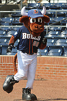 Durham Bulls mascot Wool E. Bull during a game against the Louisville Bats at Durham Bulls Athletic Park on May 2, 2012 in Durham, North Carolina. Durham defeated Louisville by the score of 7-5. (Robert Gurganus/Four Seam Images)