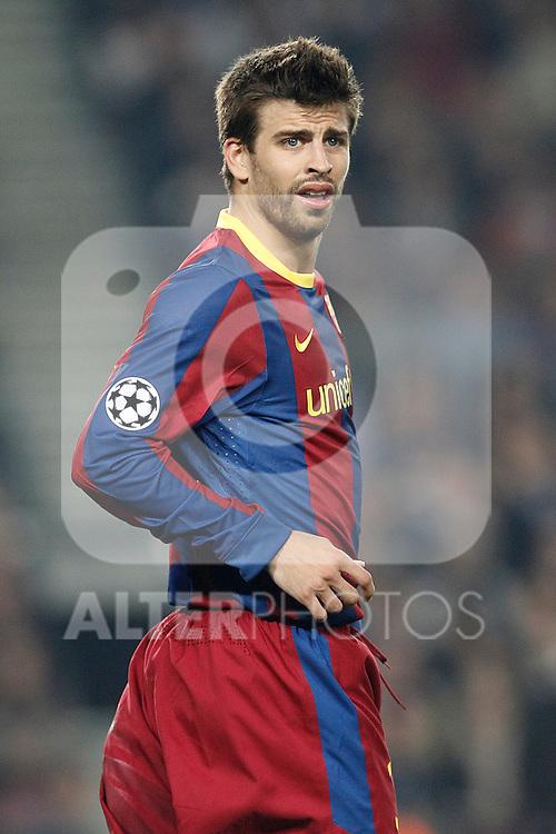 Barcelona's Gerard Pique during Champions League match on April, 6th 2011...Photo: Acero / Cebolla / ALFAQUI