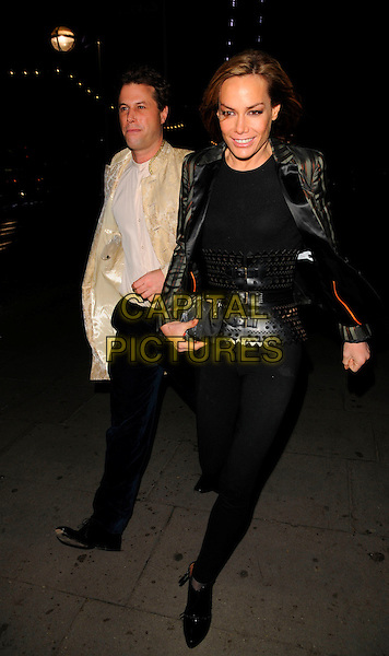 TARA PALMER TOMKINSON.Attending Andy & Patti Wong's Chinese New Year Party, County Hall, Westminster Bridge Road, London, England, 26th January 2008. .full length TPT black striped blazer jacket top belt waist Christian Louboutin shoe boots ankle.CAP/CAN.©Can Nguyen/Capital Pictures