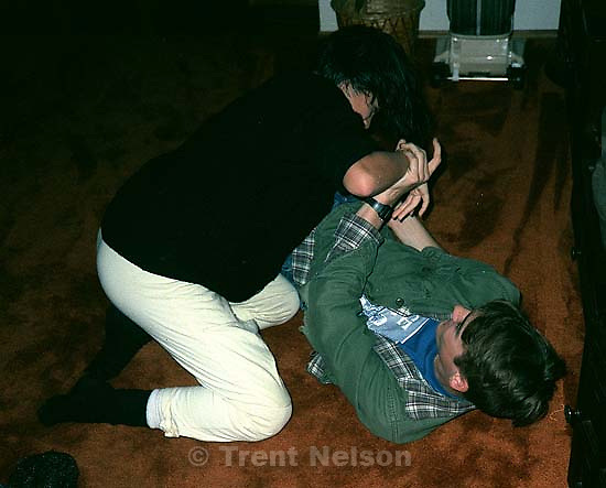 Denise Buckley and Trent Nelson wrestling; San Ramon, CA<br />