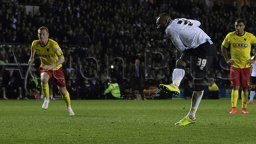 03.04.2015.  Derby, England. Skybet Championship. Derby versus Watford. Derby striker Darren Bent scores a penalty at the end of the first half to equalise 1-1.