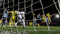 Goalkeeper Matt Ingram of Wycombe Wanderers controls his line during the Sky Bet League 2 match between Wycombe Wanderers and Oxford United at Adams Park, High Wycombe, England on 19 December 2015. Photo by Andy Rowland.
