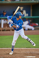 Brayan Morales (8) of the Ogden Raptors bats against the Idaho Falls Chukars at Lindquist Field on August 28, 2017 in Ogden, Utah. Ogden defeated Idaho Falls 7-1. (Stephen Smith/Four Seam Images)