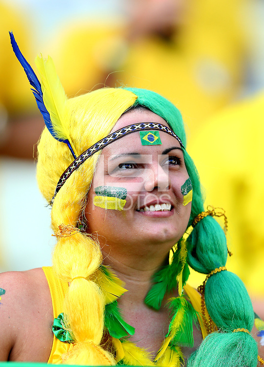 A Brazil fan cheers her side on