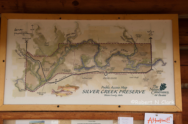 Map at the visitor center showing the various sections of Silver Creek