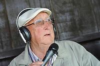 VOETBAL: LEMMER: 09-05-2013, VV Lemmer-LVV Friesland, derde klasse A, Eindstand 1-2, commentator 91 jarige Piet Burgers Radio Lemsterland, ©foto Martin de Jong
