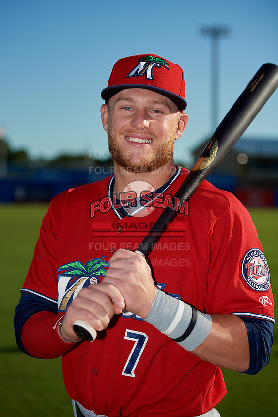 Fort Myers Miracle designated hitter Travis Blankenhorn (7) poses for a photo before a game against the Dunedin Blue Jays on April 17, 2018 at Dunedin Stadium in Dunedin, Florida.  Dunedin defeated Fort Myers 5-2.  (Mike Janes/Four Seam Images)