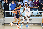 20 November 2016: Bucknell's Kyi English (2) drives against North Carolina's Destinee Walker (24). The University of North Carolina Tar Heels hosted the Bucknell University Bisons at Carmichael Arena in Chapel Hill, North Carolina in a 2016-17 NCAA Women's Basketball game. UNC won the game 65-50.