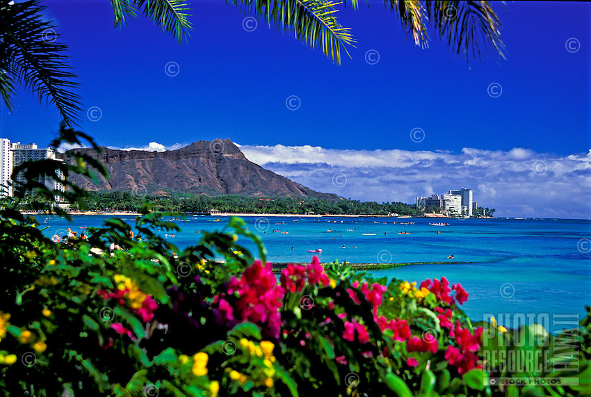 Majestic Diamond Head Crater.  Hawaii's most recognized  landmark. Located near Waikiki Beach on the south shore of Oahu.