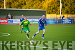 Mitchel's Brendan Coffey and QPR's Johny O'Brien in  Dominos Pizza Final Mitchels Avenue v QPR at Mounthawk Park on Monday