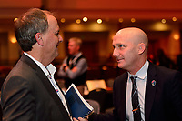 Philadelphia, PA - Thursday January 18, 2018: Anson Dorrance, Paul Riley during the 2018 NWSL College Draft at the Pennsylvania Convention Center.