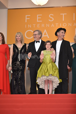 Kate Capshaw, Steven Spielberg, Ruby Barnhill, Mark Rylance at 'The BFG' screening at the 69th International Cannes Film Festival, France<br /> May 14, 2016<br /> CAP/PL<br /> &copy;Phil Loftus/Capital Pictures / MediaPunch *** North American &amp; South American Rights Only***
