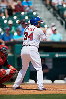 Buffalo Bisons first baseman Rowdy Tellez (34) at bat during a game against the Pawtucket Red Sox on June 28, 2018 at Coca-Cola Field in Buffalo, New York.  Buffalo defeated Pawtucket 8-1.  (Mike Janes/Four Seam Images)