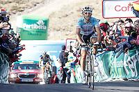 Dario Cataldo comes to the finish winner of the stage of La Vuelta 2012 between Gijon and Valgrande-Pajares (Cuitu Negru) in presence of Thomas De Gendt, second classified.September 3,2012. (ALTERPHOTOS/Acero) /NortePhoto.com<br /> <br /> **CREDITO*OBLIGATORIO** <br /> *No*Venta*A*Terceros*<br /> *No*Sale*So*third*<br /> *** No*Se*Permite*Hacer*Archivo**<br /> *No*Sale*So*third*