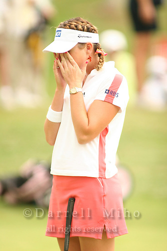 Kapolei, HI, February 24, 2006 - Paula Creamer reacts after missing her putt during the 2nd round of the LPGA Fields Open at Ko Olina Resort...Mandatory Photo Credit: Darrell Miho.